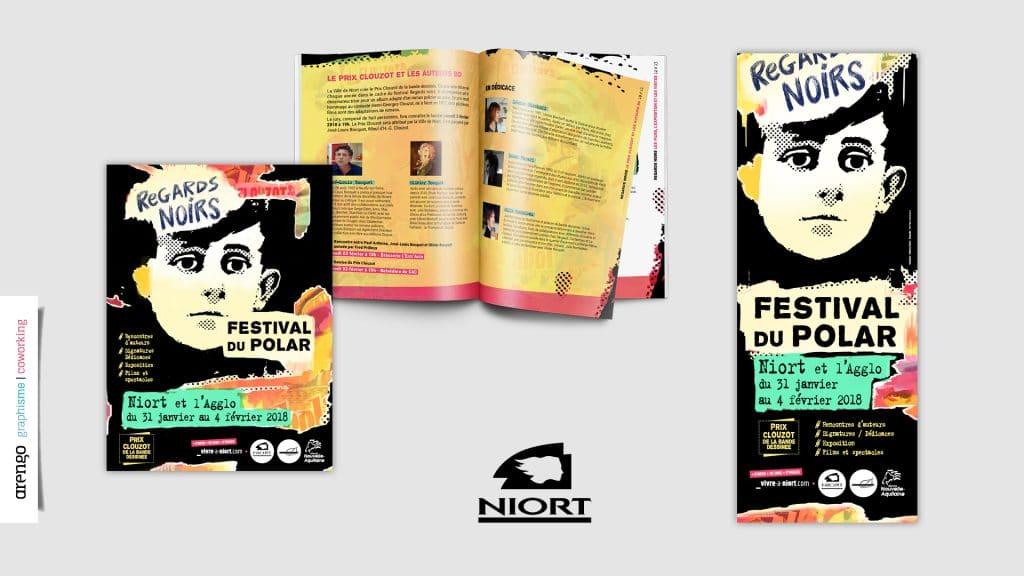 Supports de communication réalisé pour les festival Polar à Niort