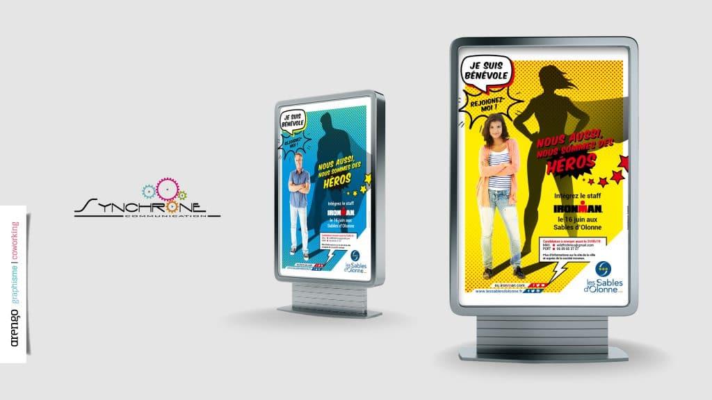 Déclinaison graphique des affiches Ironman aux Sables d'Olonnes