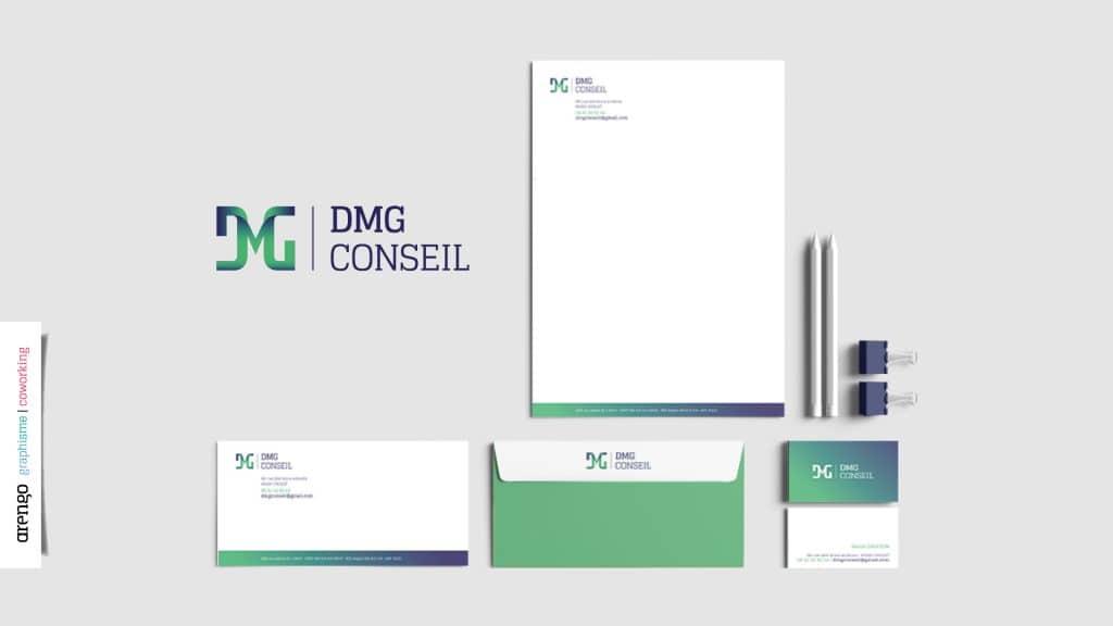 Identité graphique, logo et papeterie réalisés pour DMG conseil