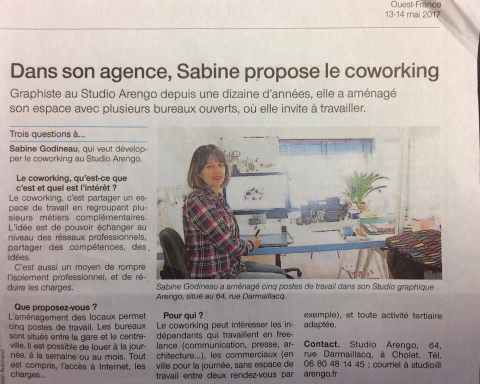 Article du Ouest-france sur Coworking Cholet